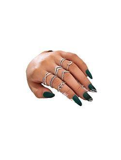 Boho Silver Star Moon Knuckle Ring Set for Women Teen Girls,Vintage Crystal Stackable Midi Finger Rings