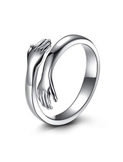 LOVECOM Hug Ring,925 Sterling Silver Hug Rings for Women Girls Silver Hugging Hands Open Promise Ring Jewelry Hug Hands Mens Rings Couples Wedding Bands