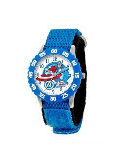 Captain America Boys' Stainless Steel Time Teacher Blue Bezel Watch, Blue Nylon Strap