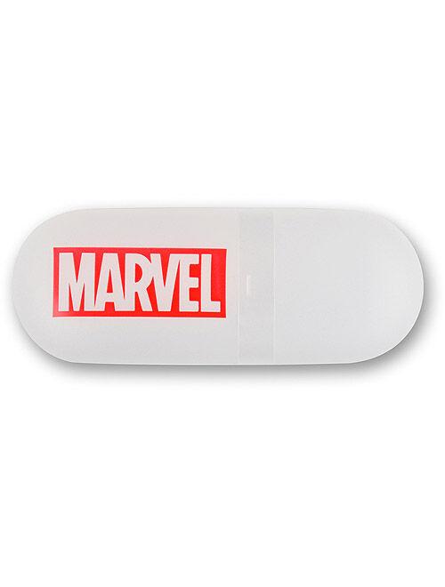 Marvel Captain America Boys' Stainless Steel Time Teacher Blue Bezel Watch, Blue Nylon Strap