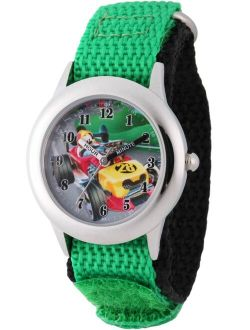 Mickey Mouse Boys' Stainless Steel Time Teacher Watch, Green Hook and Loop Nylon Strap with Black Backing