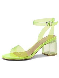 Shoe Land SL-Amaya Womens Open Toe Ankle Strap Chunk Low Clear Heel Dress Pump Sandals