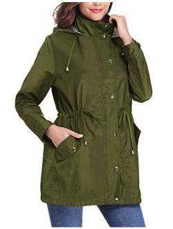Women Raincoats Waterproof Rain Jacket Lightweight Hood Lining Jacket Windbreaker