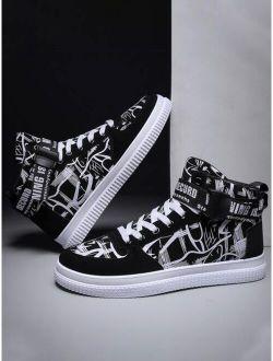 Men Graffiti Print High Top Sneakers