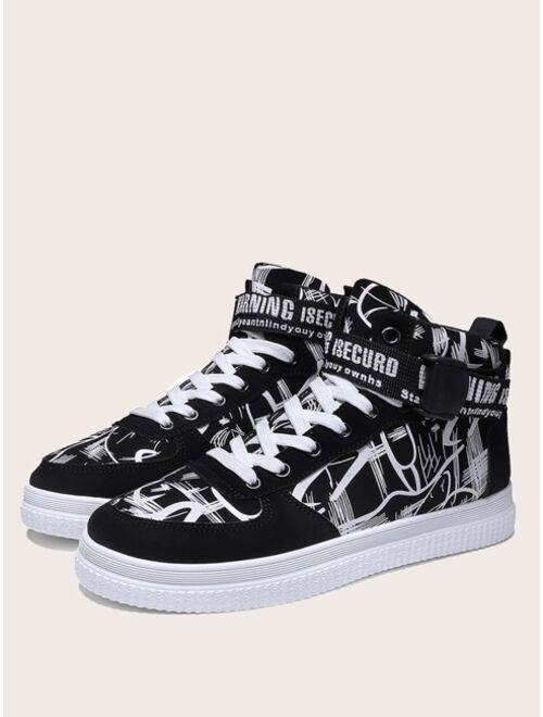 Shein Men Graffiti Print High Top Sneakers