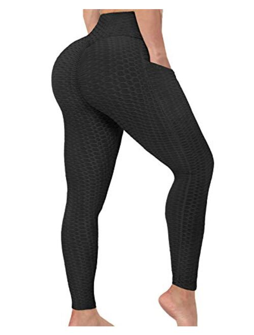 AIMILIA Butt Lifting Anti Cellulite Leggings with Pockets for Women High Waisted Yoga Pants Workout Tummy Control Tights
