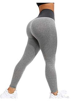 Women's Ruched Butt Lifting Leggings High Waisted Yoga Pants Tummy Control Workout Textured Booty Tights