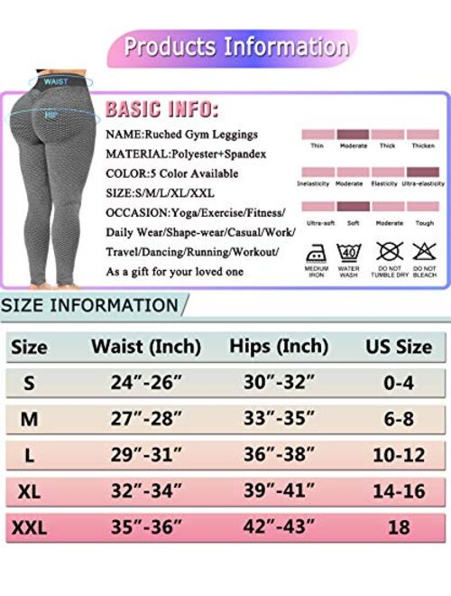 AIMILIA Women's Ruched Butt Lifting Leggings High Waisted Yoga Pants Tummy Control Workout Textured Booty Tights