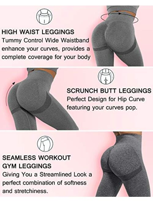 AIMILIA Women's Seamless Leggings Workout Yoga Pants Butt Lifting High Waisted Tummy Control Compression Tights