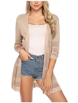 Womens Casual Knitted 3/4 Sleeve Lightweight Open Front Cardigan Sweater