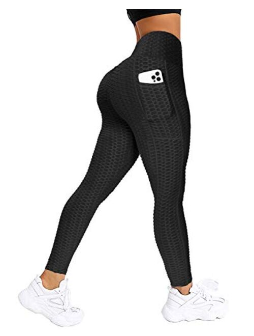 AIMILIA Women's Butt Lifting Anti Cellulite Leggings High Waisted Ruched Yoga Pants with Pockets Tummy Control Sport Tights