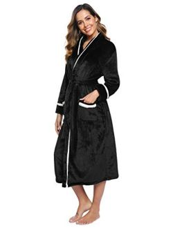 Women's Graceful Flannel Robe Long Warm Fleece Bathrobes Long Plush Nightgown With Two Pocket S-xxl