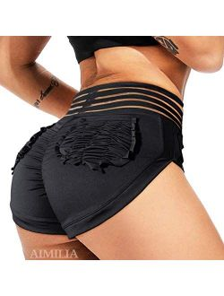 Womens Sexy Workout Yoga Shorts High Waisted Booty Ruched Butt Lifting Gym Shorts Running Biker Sport Hot Shorts