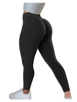 Women's High Waisted Butt Lifting Leggings Ruched Butt Seamless Booty Yoga Pants Tummy Control Sport Tights