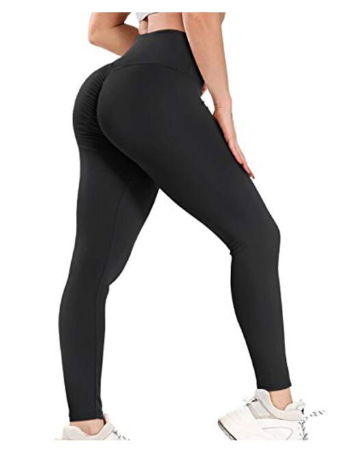 AIMILIA Women's High Waisted Butt Lifting Leggings Ruched Butt Seamless Booty Yoga Pants Tummy Control Sport Tights