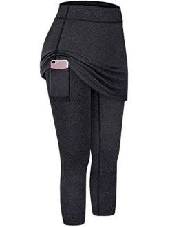 Kimmery Womens Capri Skirted Leggings with Pocket For Yoga Tennis