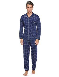 Mens Pajama Set Spring&winter Warm Sleepwear Soft Skin-friendly Cotton Tops And Bottom Lounge Pjs Set S-xxl