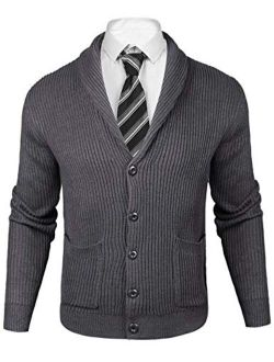 Mens Slim Fit Knitted Button Down Collar Cardigan Sweater With Ribbing Edge