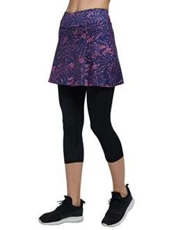 slimour Women Capri Leggings with Skirt Attached Capri Pants Skirted Leggings Workout Skapri