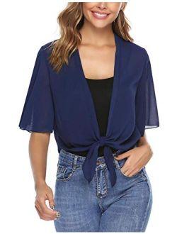 Women Half Sleeve Tie Front Chiffon Bolero Shrugs Open Front Cardigan