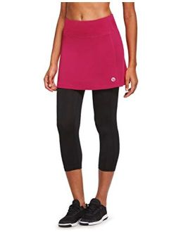 BALEAF Women's Skirted Leggings Capris Quick-Dry Athletic Skorts with Pockets Tennis Running Yoga Workout Sports