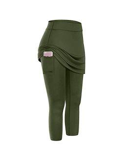 Skirted Legging for Women, Yoga Legging with Skirts Women Tennis Leggings Clothes Pockets Women's Sports Pants