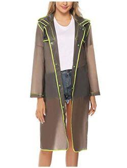 Raincoats With Hoods Portable Eva Poncho For Adults Reusable Rain Coat Rain Gear
