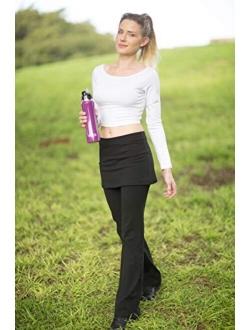 NIRLON Women High Waist Gathered Plus Size Skirted Leggings Pant For Workout