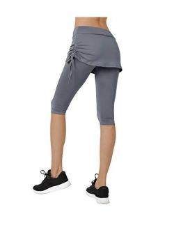 Cityoung Women's Running Cropped Capri Pants Swim Skirted Sport Leggings Sun Protection