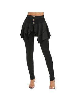 AMSKY Skirted Leggings for Women,Women Solid Color Ruffle Irregular High Waist Long Pants Layered 3-Button Mini Skirt