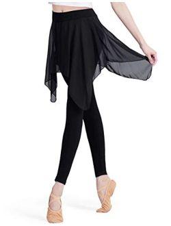 HiDance Skirted Leggings for Women, Yoga Pants Stretchy Ballet Dance Leggings Chiffon Skirted Tights for Ballet Latin Salsa Tango Ballroom Training