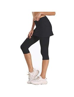 Ultrafun Women's UPF 50+ Capri Skirted Leggings Tights Active Tennis Skirt with Pockets