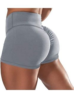 Women Gym Shorts Butt Lifting Ruched Yoga Booty Running Short Tummy Control Leggings High Waisted Pants