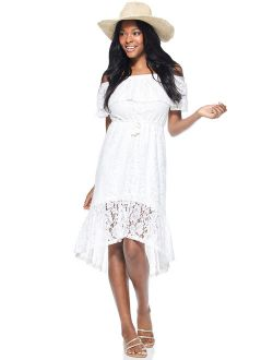 Womens Off-the-shoulder High Low Lace Dress