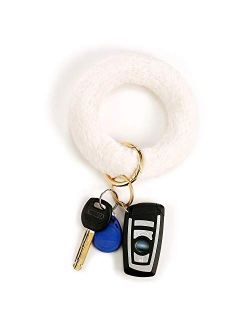 Keyring Bracelets Faux Fur Wristlet Keychain Bracelet Circle Key Ring Bangle Key Chain for Women