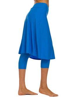 Akaeys Women's Modest Extra Long Swim Skirt with Capris Leggings Active Skirted Swimwear