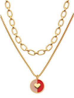 Layered Necklace With Heart Pendant