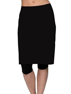 HydroChic Womens Swim Skirt with Attached Leggings, Modest Chlorine Proof Activewear
