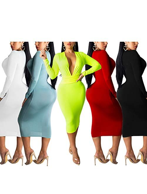 Women's Sexy Dresses Deep V Neck Long Sleeve Night Bodycon Midi Dress Party Clubwear