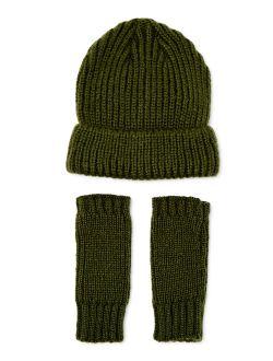 Women's Knit Beanie And Fingerless Gloves
