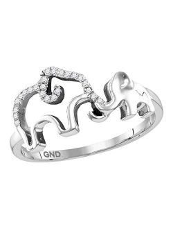 Sterling Silver Womens Round Diamond Double Elephant Animal Band Ring 1/20 Cttw for Women