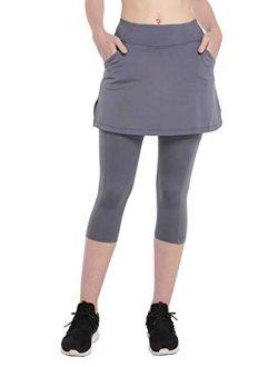 HonourSex Women Skirted Leggings with Pockets Tennis Skirt with Leggings Yoga Pants Running Grey L