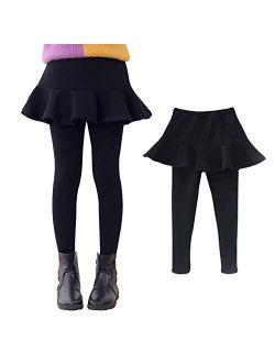 Ehdching Little Girls Winter Pantskirt Kids Fleece Lined Leggings Warm Pants Ruffle Skirt
