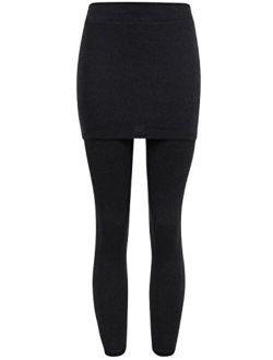 ililily Skirt Thick Leggings Stretch Winter Skinny Pants