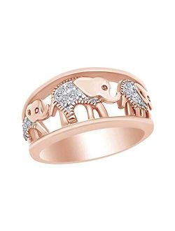 AFFY Round Shape White Cubic Zirconia Fashion Elephant Band Ring in 14k Gold Over Sterling Silver