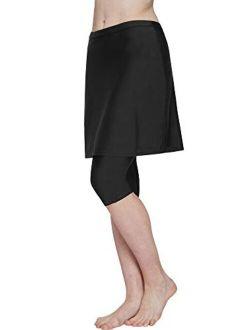 HonourSex Women Swim Skirt with Leggings Modest Swimsuits Plus Size Knee Length Skirt Capris