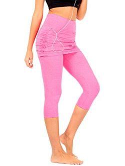 DEAR SPARKLE Skirted Capri Skirt Leggings for Women | Yoga Tennis Golf Gathered Skapri w Pockets + Plus Size (S20)