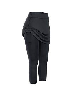 Ladysdress Women Tennis Skirted Leggings Pockets Elastic Sports Yoga Capris Skirts Legging