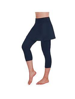 RNUYKE Women's Tennis Skirted Leggings Capris Tights Athletic Skorts Elasticated Waist Full Length Thick Yoga Pants