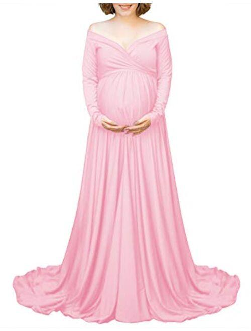 Saslax Velvet Maternity Off Shoulders Half Circle Gown for Baby Shower Photo Props Dress